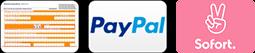Zahlungsarten Vorkasse, Paypal und Sofort als kleines Icon